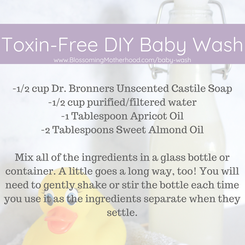 How to make a toxin-free baby wash for your infant at home. Simple, natural ingredients to keep your baby clean and toxin free! Natural ways to treat baby eczema.