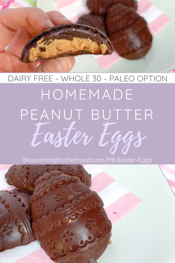 Homemade, dairy-free chocolate peanut butter Easter Eggs. Simple]chocolate peanut butter Easter eggs recipe for kids. Simple ingredients and easy to make.