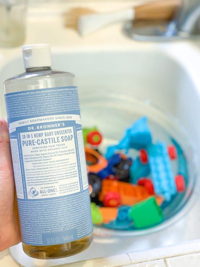 It is so simple to clean your kids toys easily, without any harmful chemicals or toxins. I am sharing three non-toxic toy cleaning solutions for your home. How to clean toys using Dr. Bronner's soap.