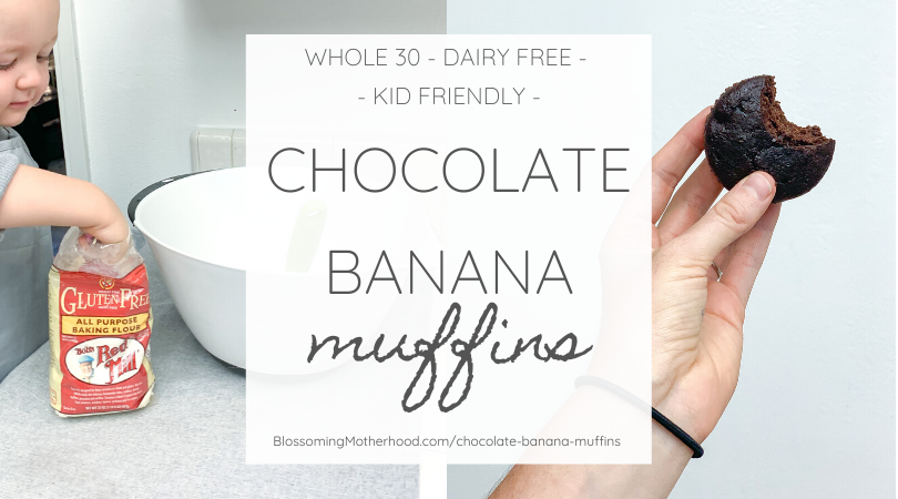 This easy recipe for chocolate banana muffins is an excellent way to use up those bananas on the counter that are too ripe. Healthy, easy snacks for kids! Recipes to make with kids. Allergy friendly recipes.