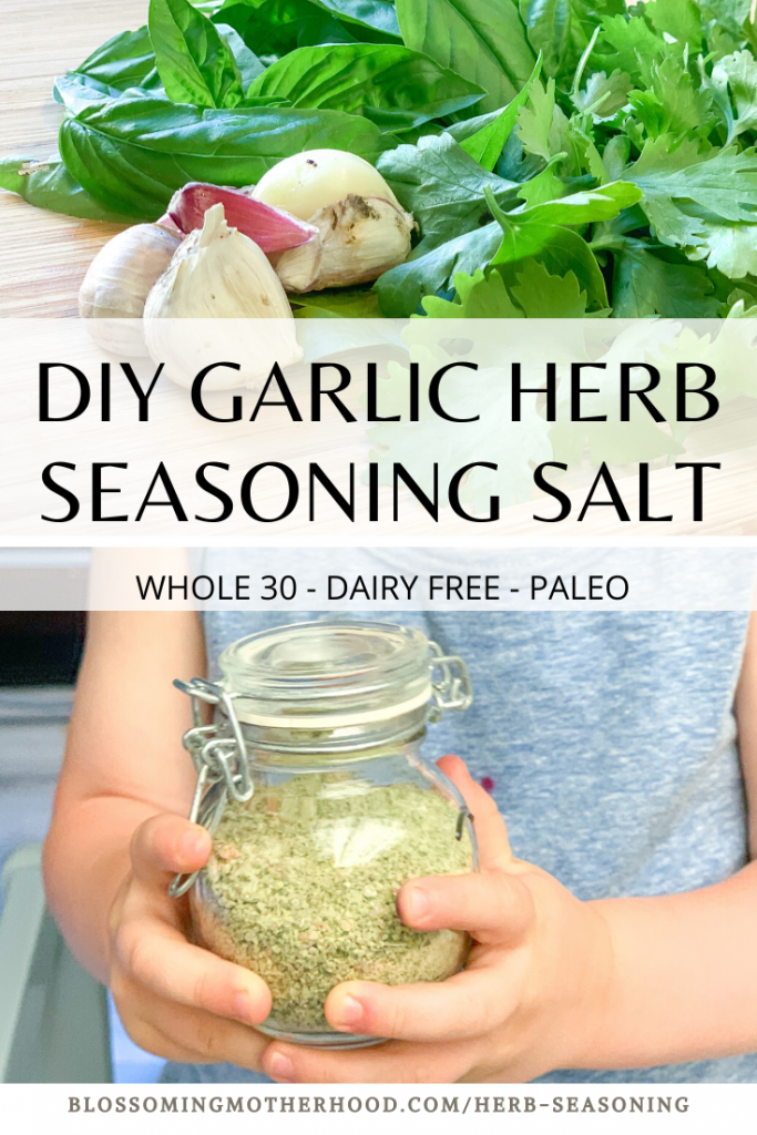 Homemade garlic herb seasoning salt recipe. Simple recipe for making your own garlic herb seasoning salt. Things to do with garden herbs.Fresh herbs recipes. How to preserve herbs