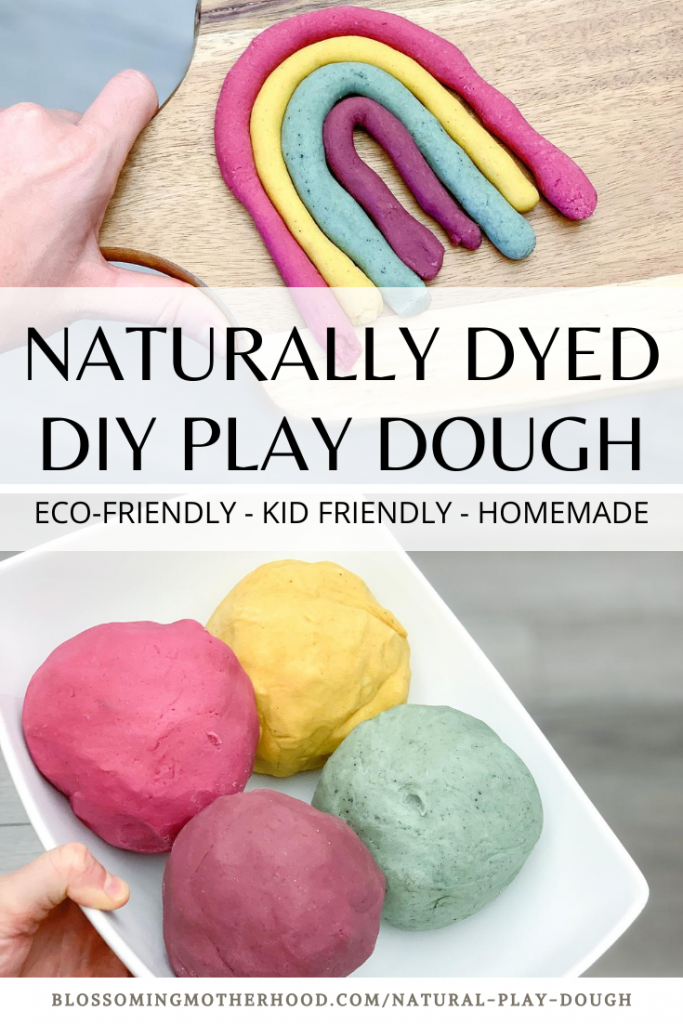 Naturally dyed play dough recipe. Simple and easy homemade play dough that is eco-friendly and non-toxic. Naturally dyed using plants! At home learning. Preschool at home.