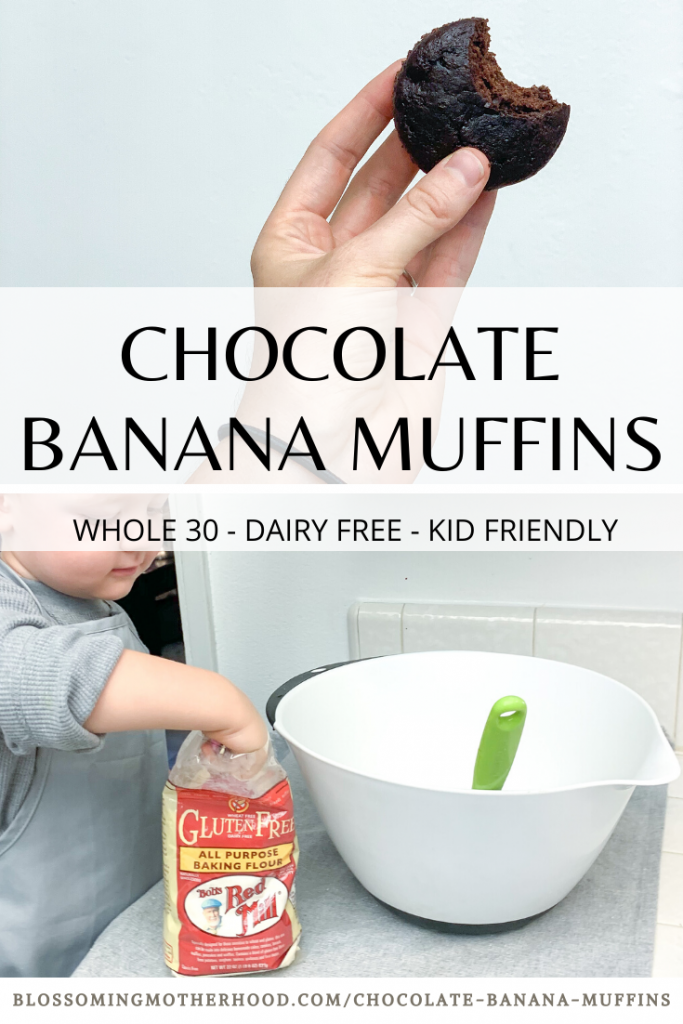 This easy recipe for chocolate banana muffins is an excellent way to use up those bananas on the counter that are too ripe. Healthy, easy snacks for kids! Ideas for over ripe bananas. Allergy friendly recipes.