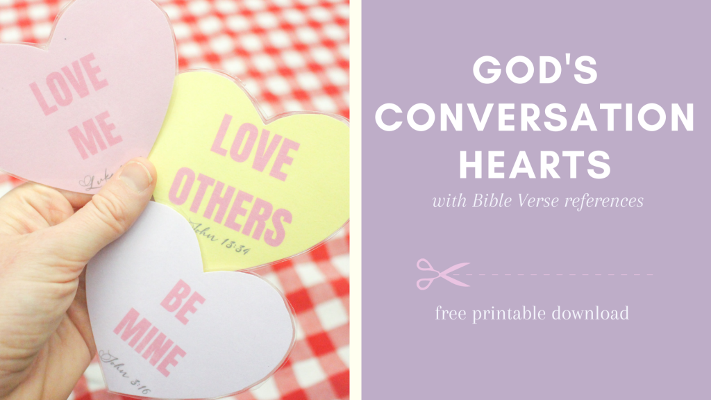 Christian Valentine's Day Activity free printable sheet. God's Conversation hearts cards and coloring sheets. This activity is simple to use! Christian Valentine's Day activities.