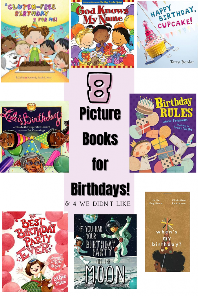 8 picture books for Birthdays! Celebrate your child's birthday with these 8 picture books! Plus, download the free birthday interview inside! Birthday interview printable.