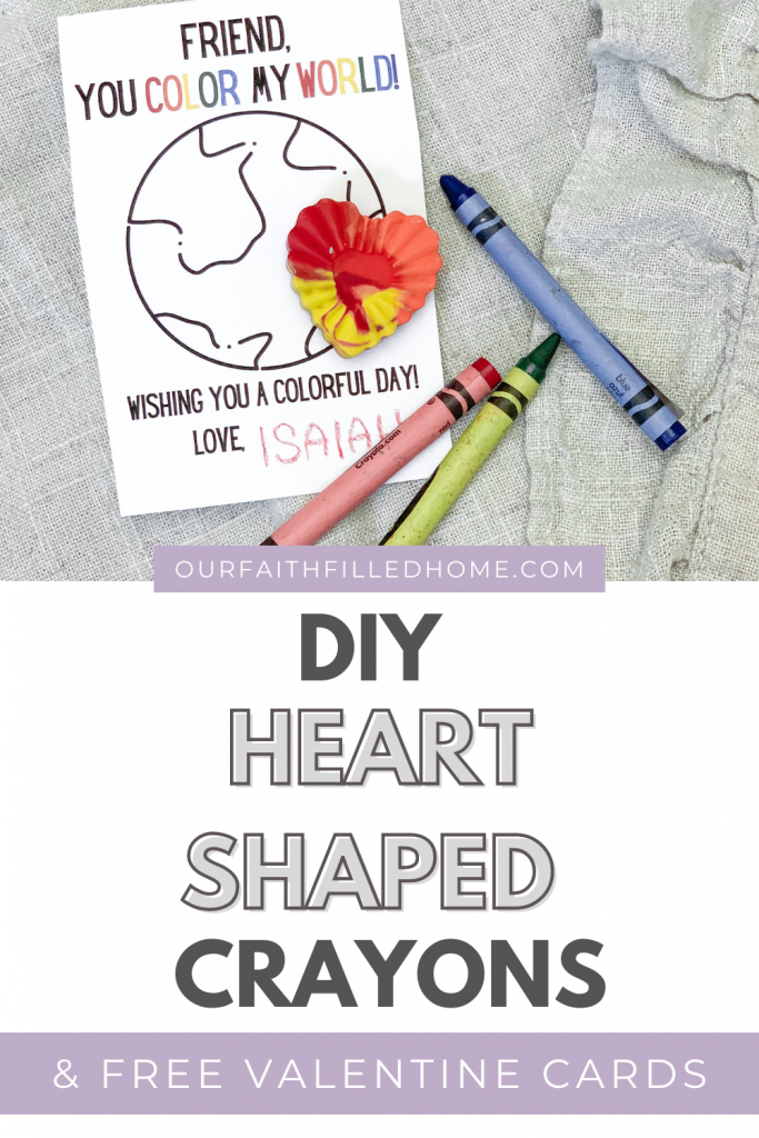 DIY Crayon hearts for Valentine's Day. Make your own rainbow crayons using recycled crayons. Free Valentine's Day card printable. DIY Valentine's Day crafts.