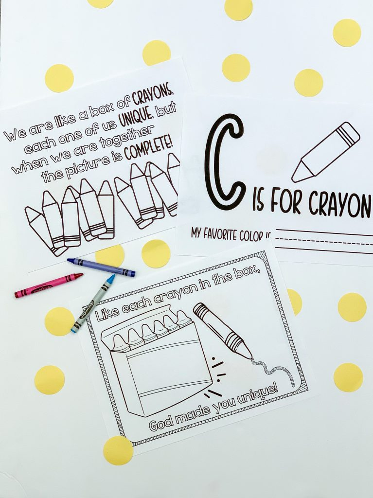 Preschool activities for National Crayon Day and free activities for National Crayon Day. No prep activities for preschoolers! Preschool crafts for National Crayon Day. Free National Crayon Day coloring page.