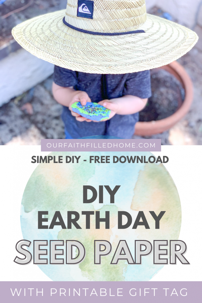 DIY Seed Paper for Earth Day is a simple DIY you can do with any child to celebrate Earth Day in an eco friendly way. Free gift tag download! Busy activities for toddlers.