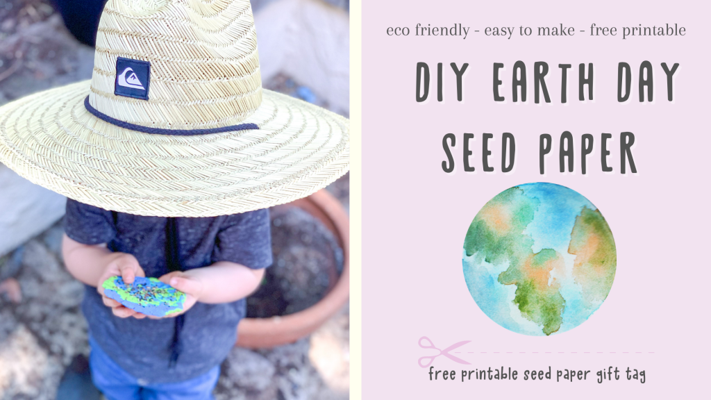 DIY Seed Paper for Earth Day is a simple DIY you can do with any child to celebrate Earth Day in an eco friendly way. Free gift tag download!