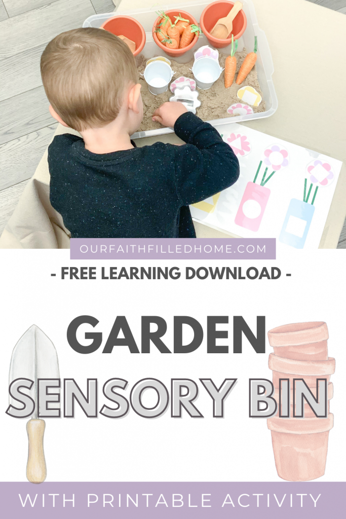 Garden Sensory Bin is a busy activity for kids. Create a sensory and learning experience using the free flower vase shape sorting download.preschool at home learning activities. spring activity ideas for preschool. Spring downloads for preschool.
